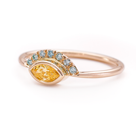 Yellow Marquise Diamond Ring Blue Diamonds