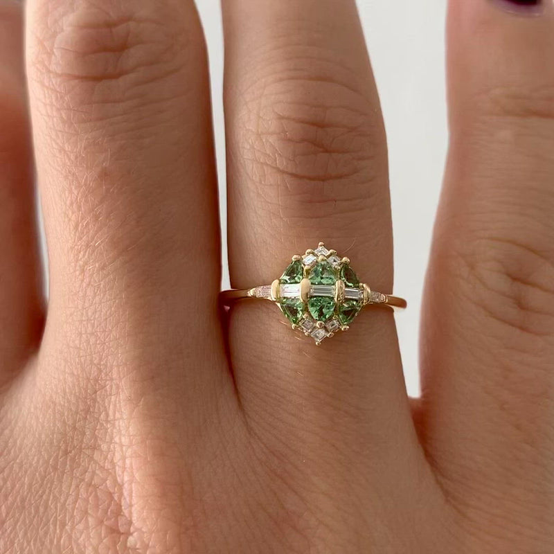 Mint-Garnet-and-Diamond-Cluster-Engagement-Ring-video