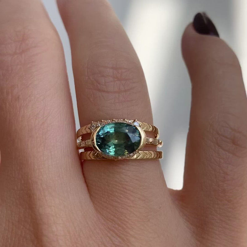 Teal-Sapphire-Engagement-Ring-with-Delicate-Diamond-Detailing-OOAK-video-in-set