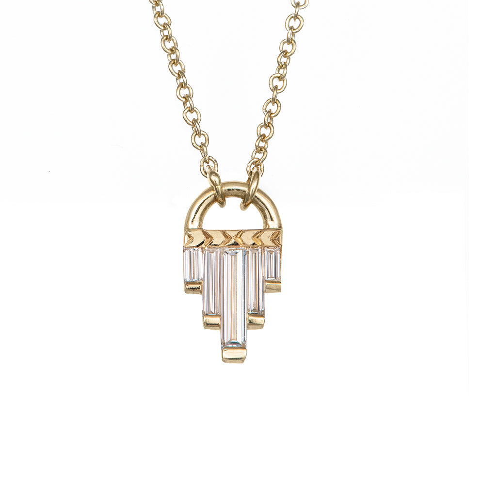 Art Deco Diamond Necklace with Baguette Cut Diamonds - L