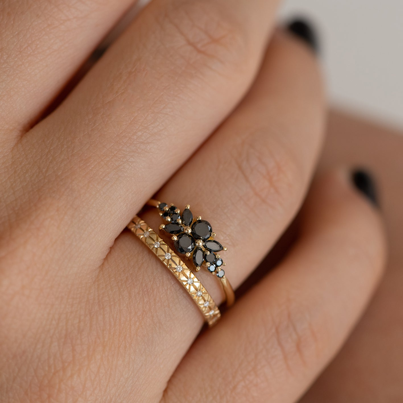 Black Diamond Flora Engagement Ring Wedding Set