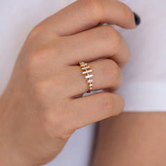Spaced Needle Baguette Diamond Ring4