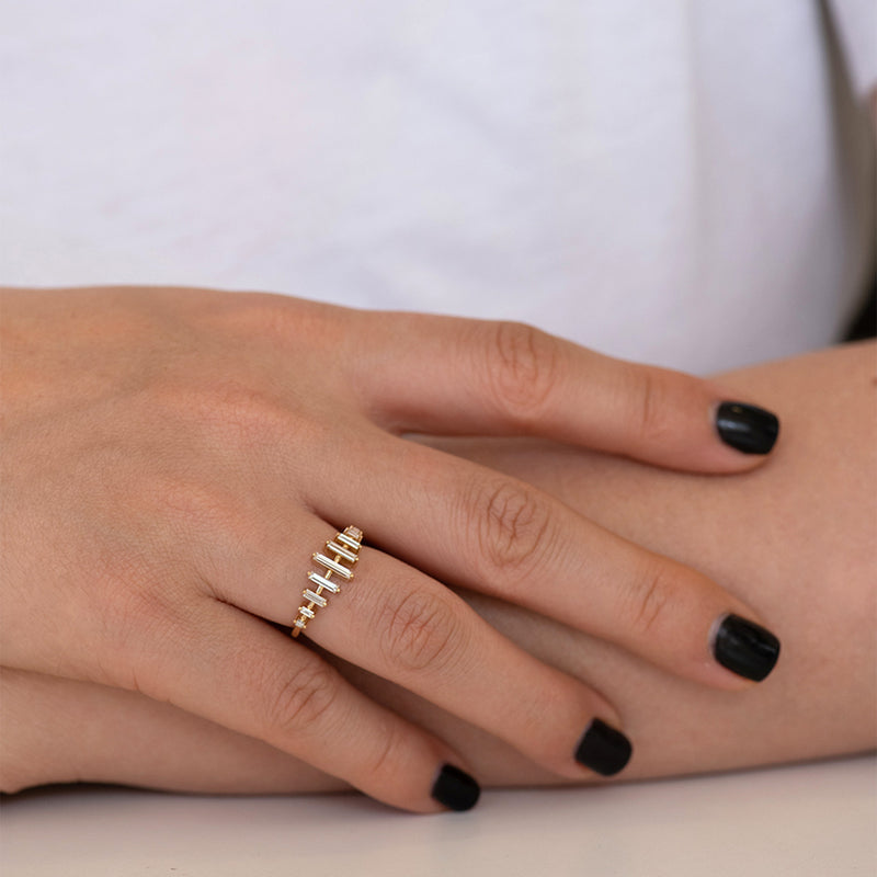 Spaced Needle Baguette Diamond Ring6