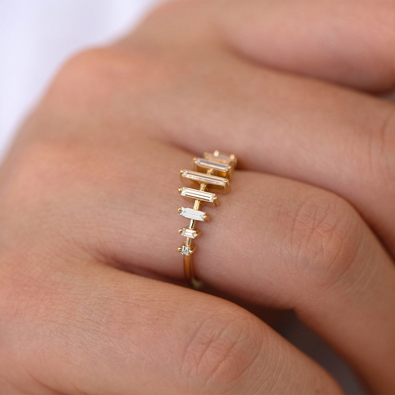 Spaced Needle Baguette Diamond Ring2