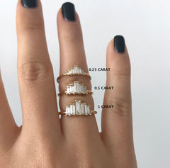 Baguette Engagement Ring in three sizes