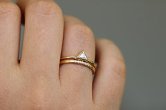 Dainty diamond ring with five 1 mm diamonds