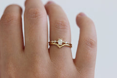 asymmetric wedding ring set