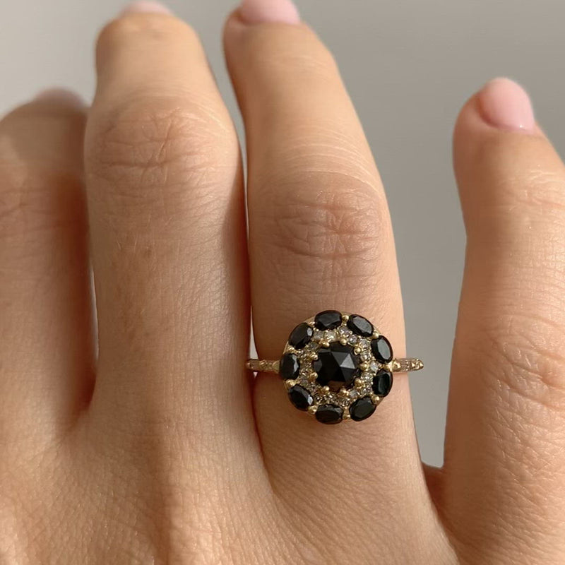Black-Diamond-Mandala-Engagement-Ring-With-Baguette-Diamond-Band-video