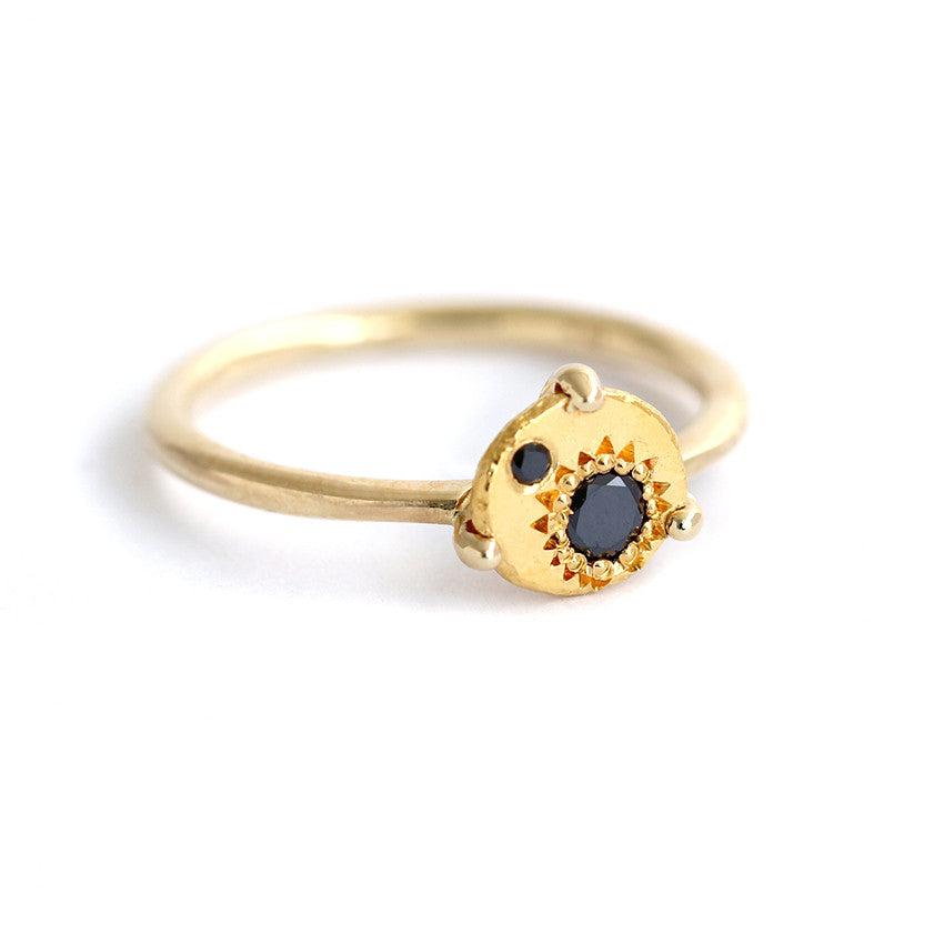 Sun Eclipse Ring with Black Diamonds