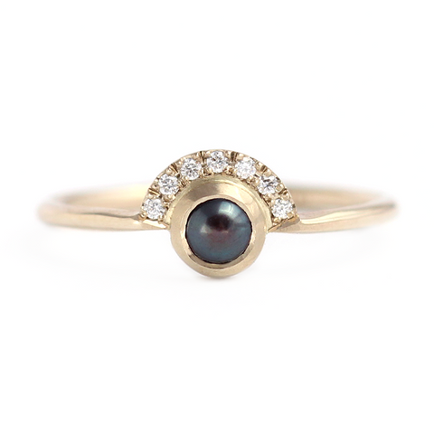 Black Pearl Engagement Ring - Boho Engagement Ring