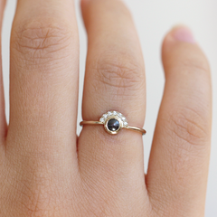 Black Pearl Engagement Ring on finger