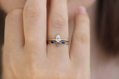 diamond and sapphire ring set