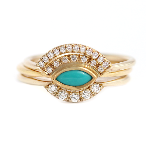 Turquoise Engagement Ring Set