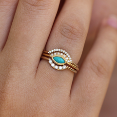 Turquoise Engagement Ring Set - Set of Three Rings