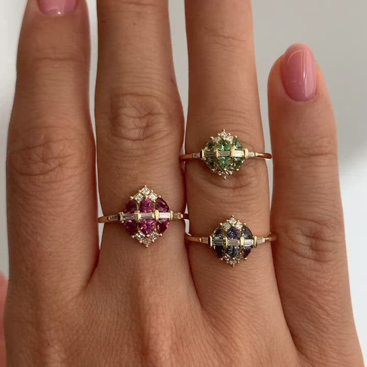 Garnet-and-Diamond-Cluster-Engagement-Ring-video