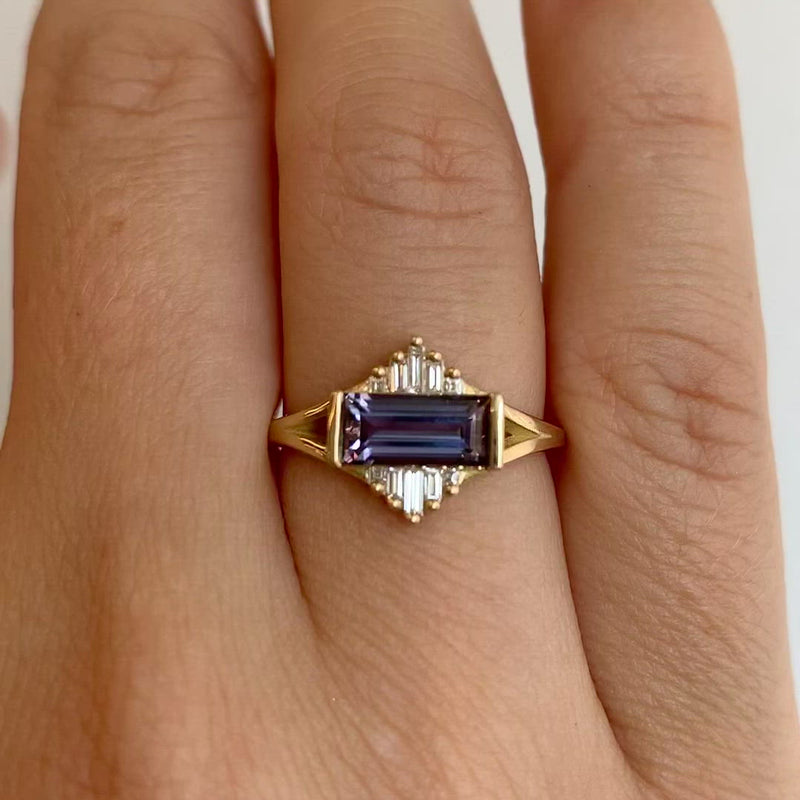 Tanzanite-Engagement-Ring-with-Baguette-Diamond-Pyramids-OOAK-video