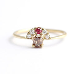 Three Color Diamond Engagement Ring