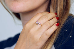 Cluster ring with pink sapphires