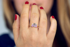Champagne Cluster Ring on Finger