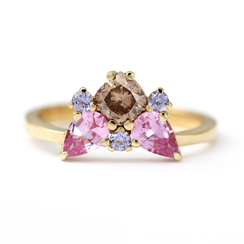 Champagne Tanzanite Tanzanite: Champagne Diamond Cluster Ring With Sapphire & Tanzanite