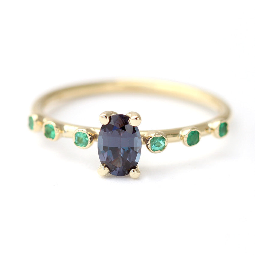 garnet gold ring with emeralds