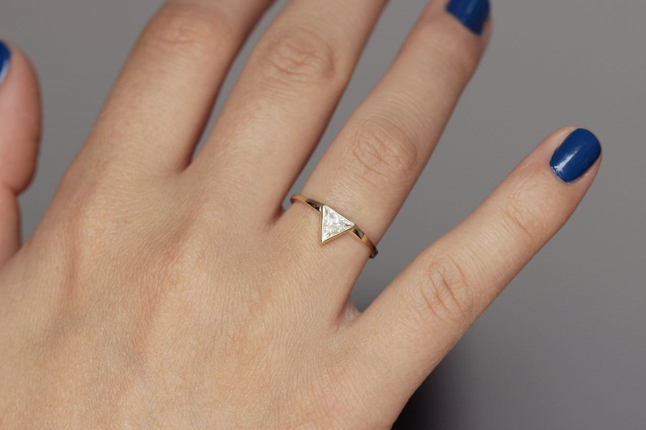0.3 Carat Triangle Diamond Ring on hand