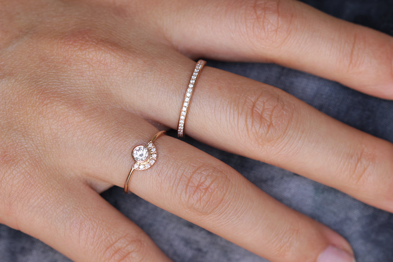 round rings pin bezel ring in exceptional gold white set diamond engagement