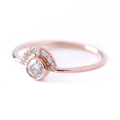 Round Diamond Ring with Half Diamond Halo - Rose Gold Engagement Ring