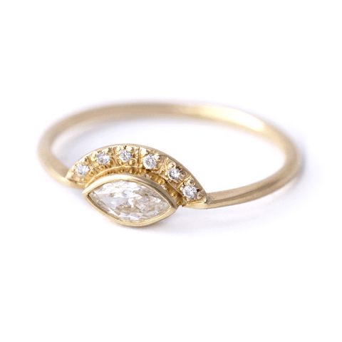 Marquise Diamond Engagement Ring - Low Profile Engagement ring