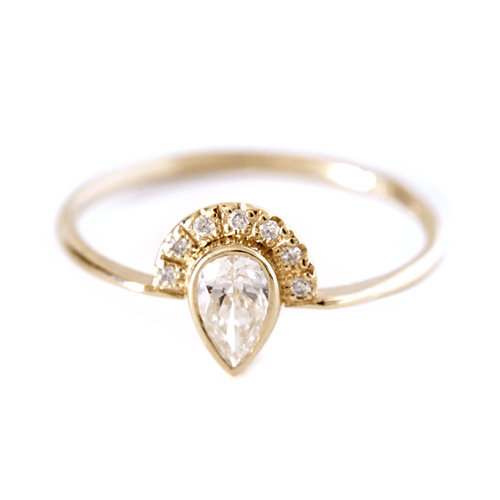 Pear Diamond Engagement Ring with Half Diamond Halo - 0.3 Carat