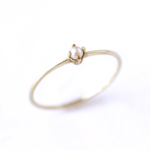 Tiny Pearl Ring - Seed Pearl Engagement Ring