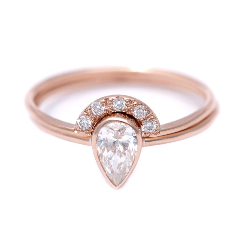 Bridal Set: Pear Diamond Wedding Set 0.5 Carat