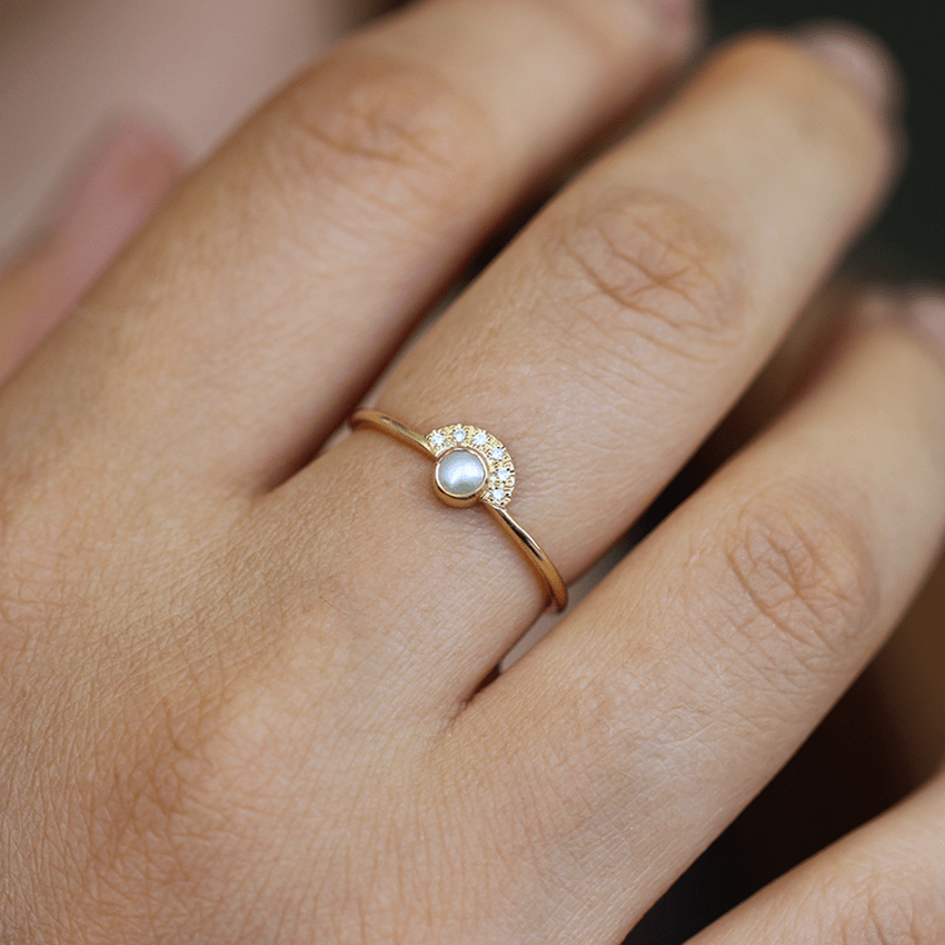bridal anniversary gold stacking engagement promise minimalist graduation jewellery thin diamond set rings pearl akoya cluster ring wedding il gift