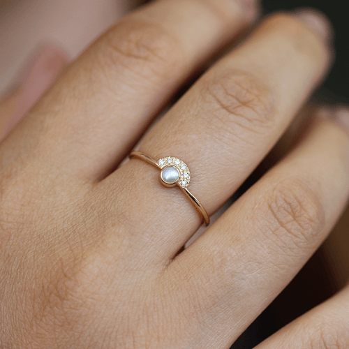 Pearl Engagement Ring with Half Diamond Halo