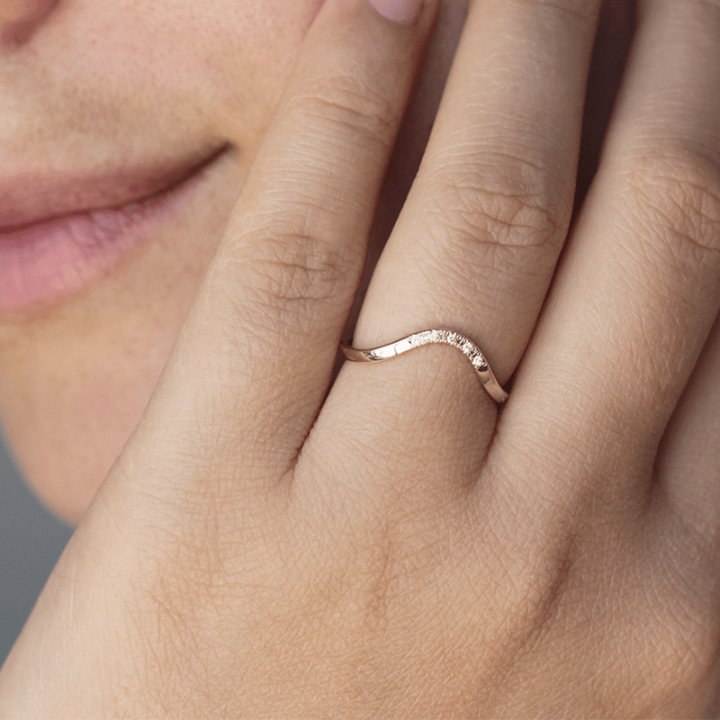 Curved Wedding Ring with Pave Diamonds