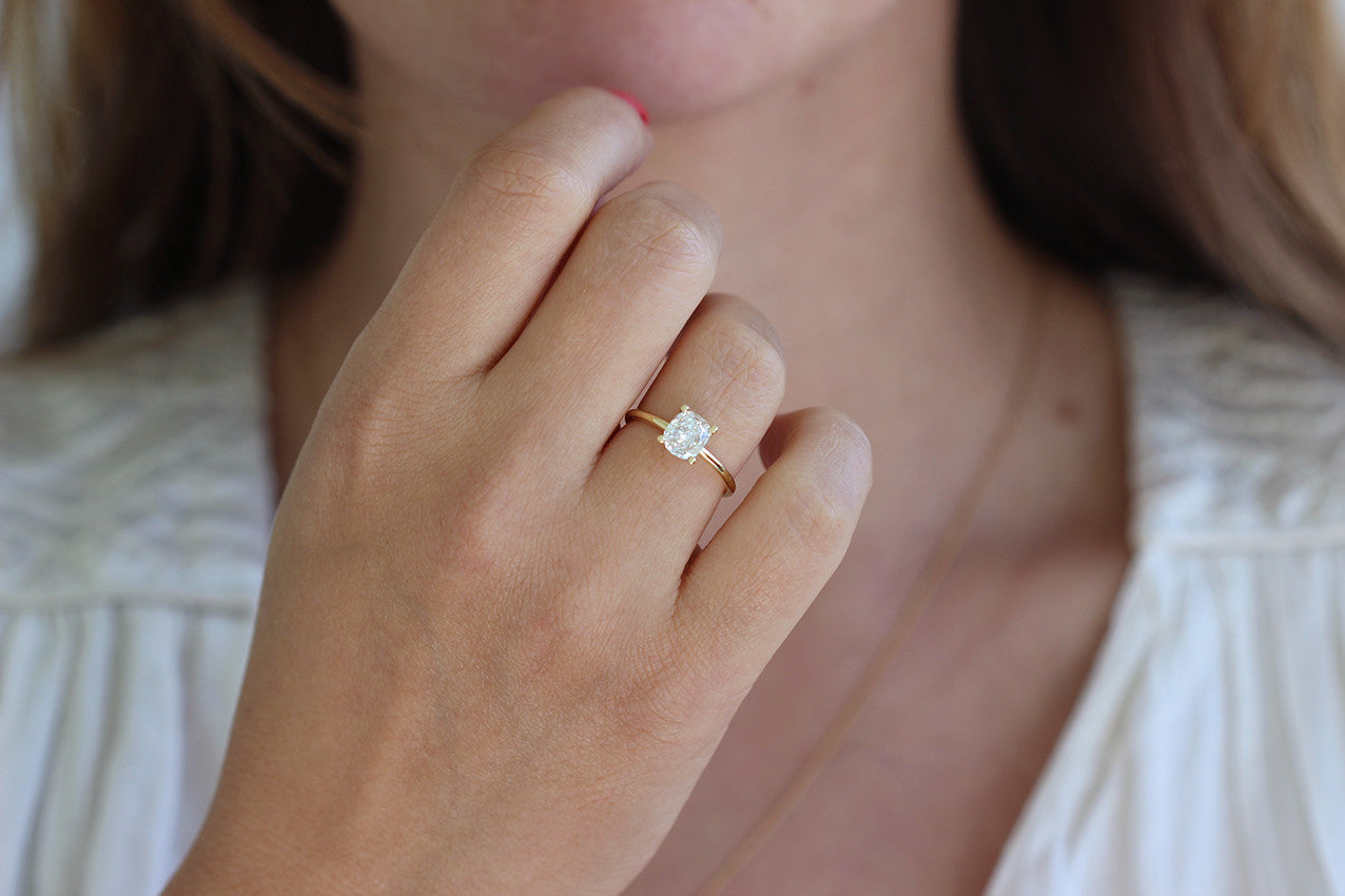 Solitaire Cushion Diamond Engagement Ring Artemer