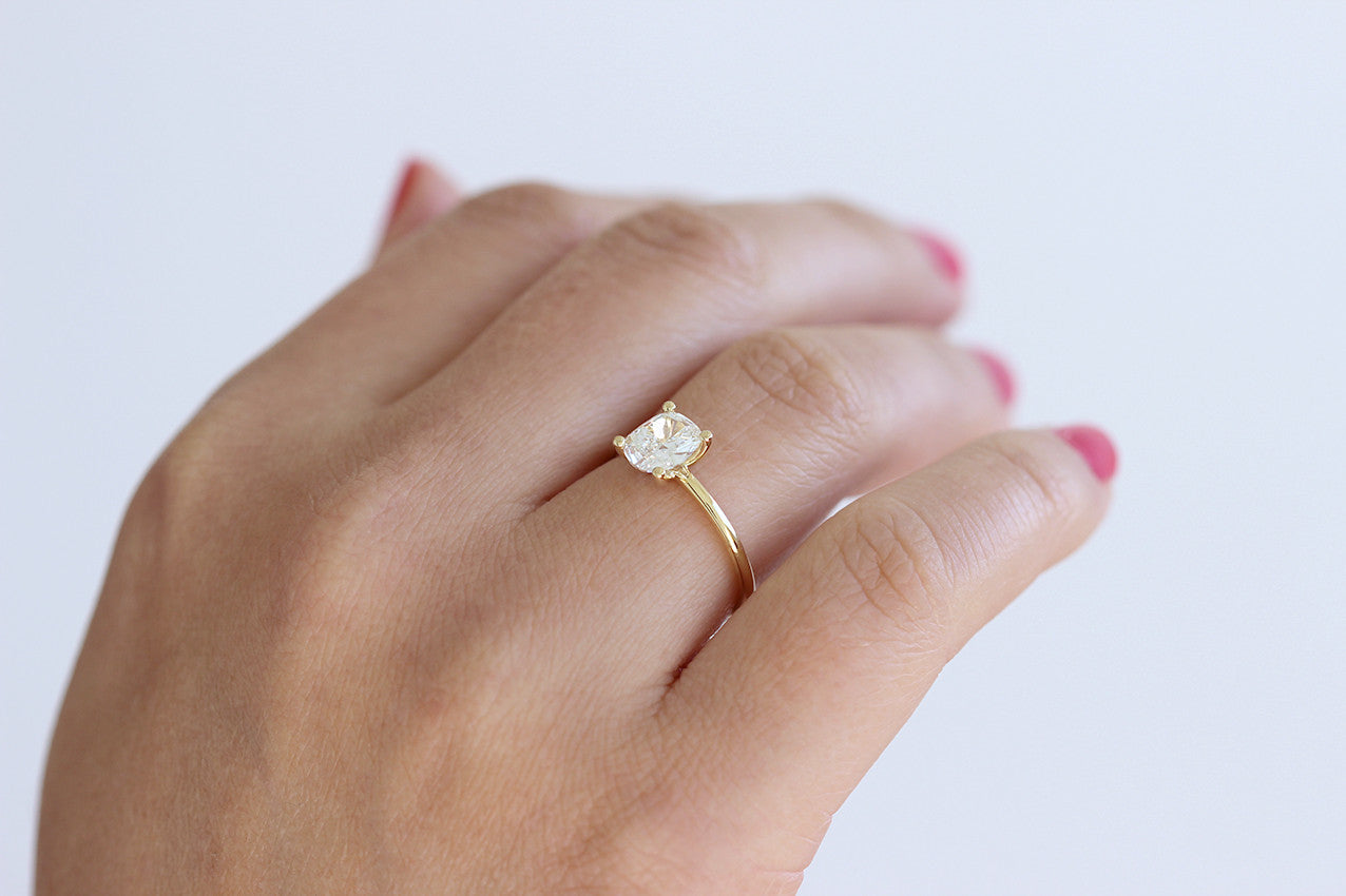 0.8 carat diamond ring on finger