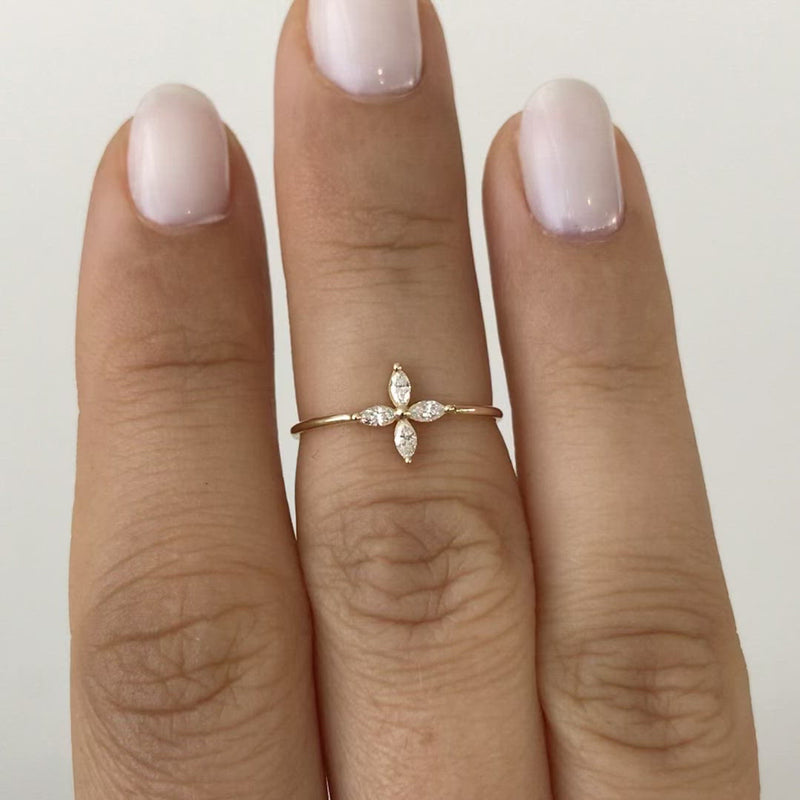 Marquise-Diamond-Engagement-Ring-with-Four-Diamonds-video