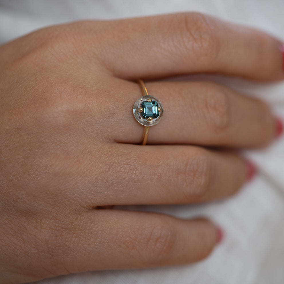 Diamond Sphere Ring with Asscher Cut Teal Sapphire - OOAK7