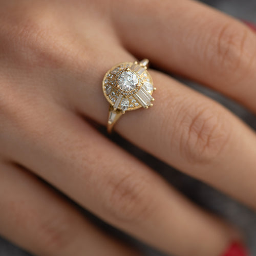 Diamond Halo Ring with Needle Cut Baguette Diamonds and Hearts1