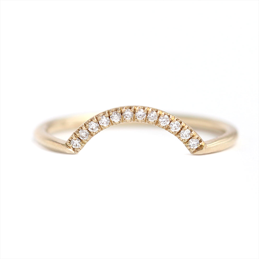 milgrain wedding gold ring band pave white diamond micro bands products