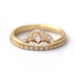 Diamond Wedding Set with Marquise Diamond Petals