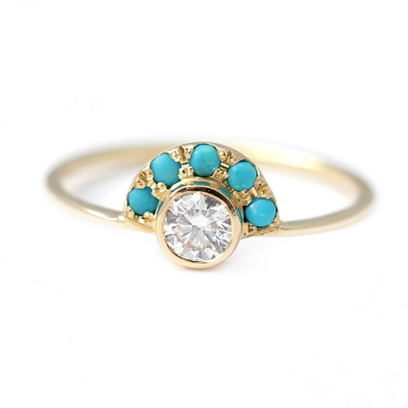 Turquoise and Diamond Ring - Round Diamond Engagement Ring