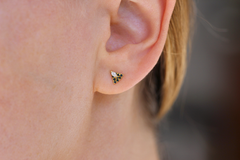Triangle Diamond Earrings On Ear