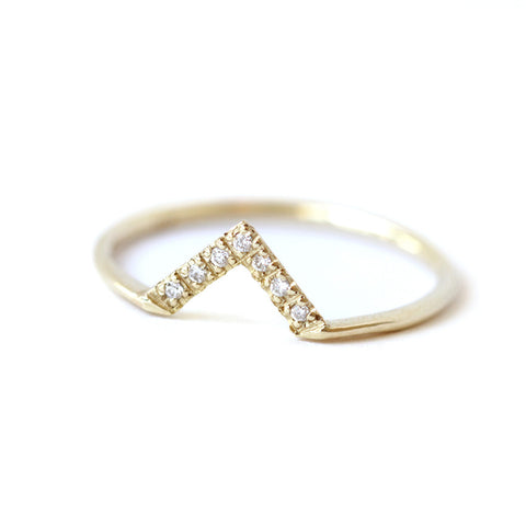 Pave Diamond V-Ring