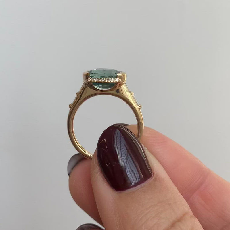 Teal-Sapphire-Engagement-Ring-with-Delicate-Diamond-Detailing-OOAK-video