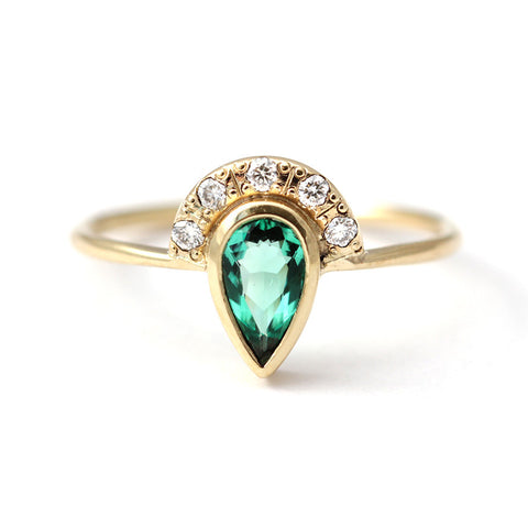 Emerald Engagement Ring with Pave Diamonds Crown