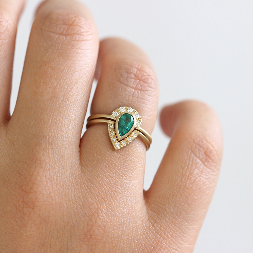 emerald set gold rings half marquise ring for promise rose her band eternity wedding round