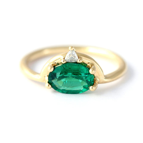 Emerald Ring with Trillion Diamond