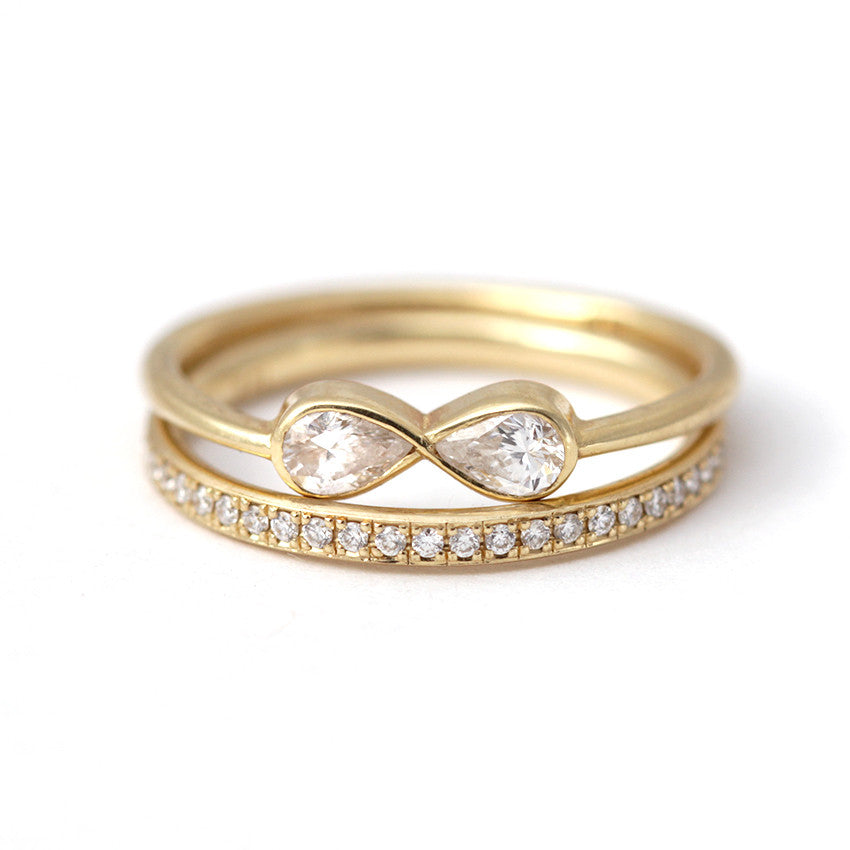 Infinity Ring with Eternity Ring Bridal Wedding Set